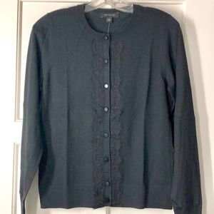 Ann Taylor Lace Front Cardigan Sweater Black